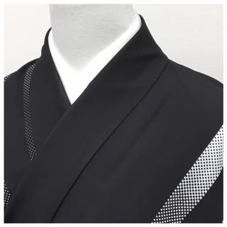 高級化繊 黒 小紋 縞 袷仕立て 大サイズ 身丈162 裄67...