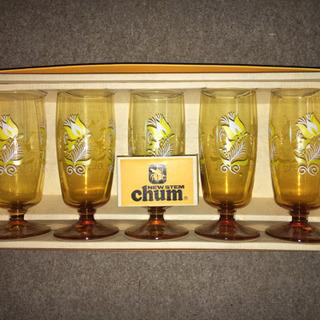 レトロ アンバーガラス グラス 新品 5個セット
