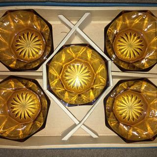 レトロ アンバーガラス 小鉢 5個セット