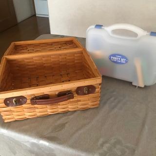 ピクニックバスケット&プラスチック製食器セット