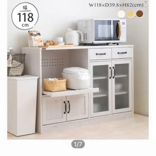 美品キッチンボード ホワイト 食器棚 カウンター