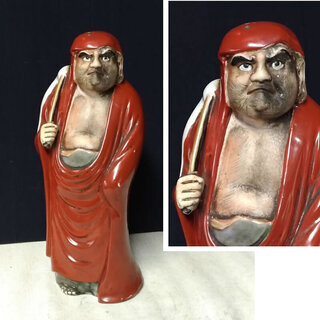 c418 九谷焼 達磨大師 置物 仏教美術 達磨大師立像