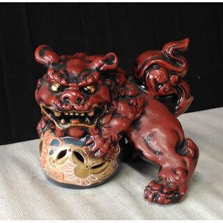 c419 九谷焼 玉乗獅子 獅子 開運 置物 狛犬 縁起物 赤獅子