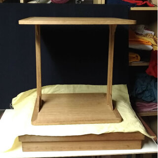 c433 桐製 四方棚 組立式 木箱入り 茶道具 木製 棚 飾り...