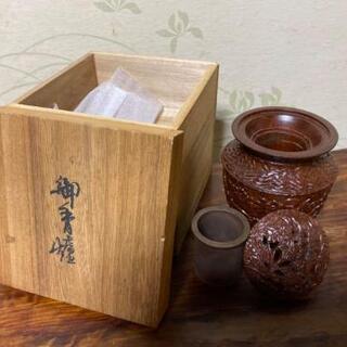 【高級木彫り】御香櫨 木箱付き 高級お香入れ