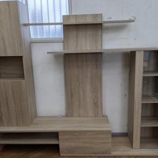壁面収納付テレビ台 木製 ナチュラル色【未使用品】