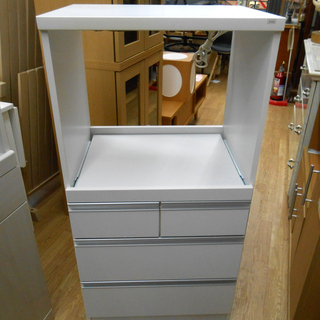 レンジ台 ミニ食器棚 キッチン収納 キッチンボード 白 幅:59...