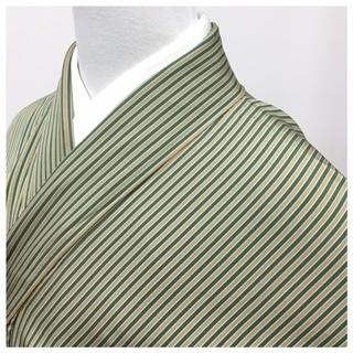 縞 小紋 身丈160 裄65 グリーン系 縞模様 袷 正絹