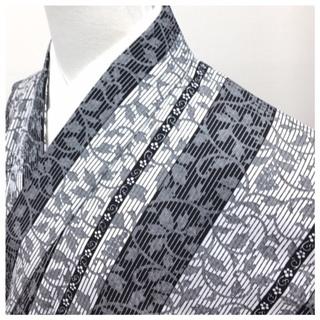 高級化繊 唐草 縞 ホワイトグレー 小紋 単衣仕立て 身丈16...