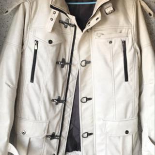 メンズ レザージャケット クリームホワイトカラー