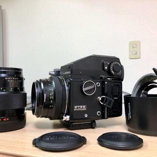 ブロニカ ETRS レンズ二本75/150 専用ストラップ グリップ
