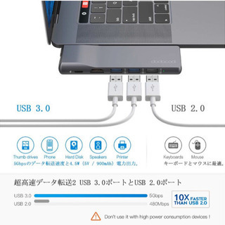 未開封新品dodocool MacBook Pro 2019 ハブ LAN ポート 4K HDMIポート 双方向充電ポートは 100W PD 充電thunderbolt 3に対応 USB Tpye-C - 売ります・あげます