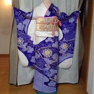 振り袖P(紫色)、長襦袢、袋帯、小物セット