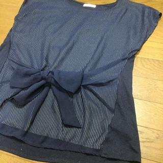 紺ウェストリボン袖なしカットソー