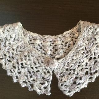 つけえり◆あったかい かぎ針編み付け襟 モヘア糸◆ハンドメイド◆...