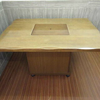 ss0599 園田産業 焼肉テーブル 洋卓 角型 ライトブラウン...