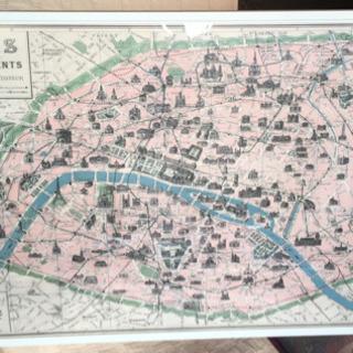 パリの地図ポスター 額付き!
