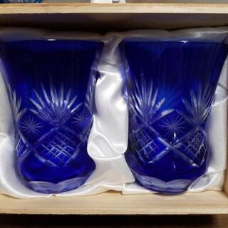 未使用新品手造り切子 藍かすり グラス2個