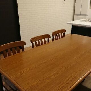 【購入者決定】早い物勝ち!ダイニングテーブルセット♪6人掛け!!机1つ椅子6つ(引っ越しの為)の画像