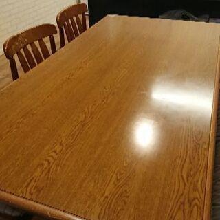 【購入者決定】早い物勝ち!ダイニングテーブルセット♪6人掛け!!机1つ椅子6つ(引っ越しの為) - 売ります・あげます