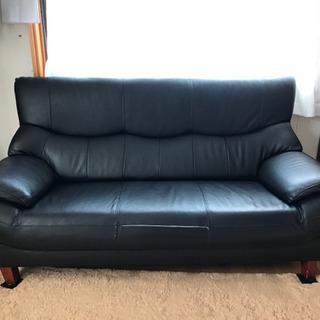 3人掛けソファー、黒、革