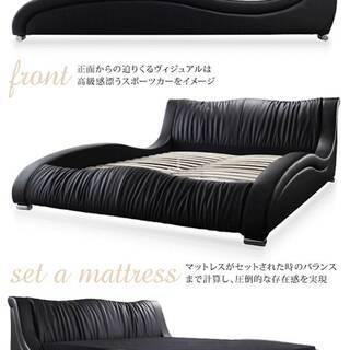 【未使用品】クイーンサイズ・高級レザーデザイナーズベッド・フレームのみ・ホワイト・11798 - 家具
