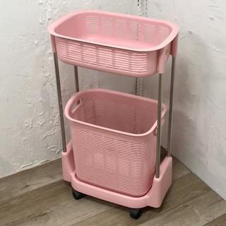 キャスター付きランドリーバスケット ピンク