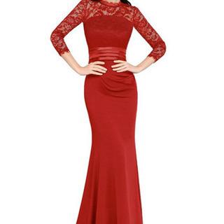 新品 ドレス ロング レッド 赤 マーマレード