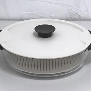 アスベル ガラスレンジ調理浅型なべ大 「ユニックス」 ホワイト