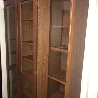 ガラス扉つき スライド2重書棚 スライド本棚