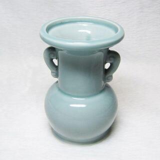 【訳あり】仏花瓶 青 5.5寸 (高さ16.8cm) 仏具 仏壇...