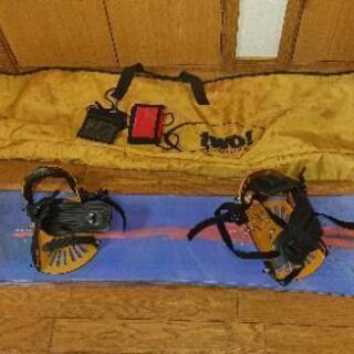 スノーボード(ケース、ビンディング付き)、リフト券ホルダー