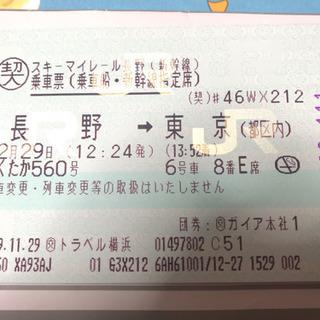 12月29日 長野~東京 新幹線チケット
