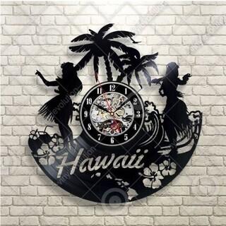 レコード盤 壁掛け時計ハワイ フラダンス ヤシの木 《未使用新品》
