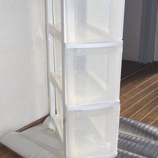 透明×白 3段収納ケース スリム キャスター付き 汚れあり