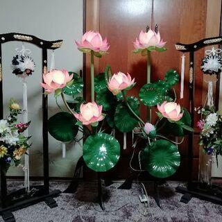 蓮華灯2台+提灯飾り2台   法事  初盆  仏事