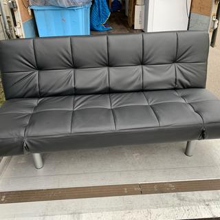 美品 使用 3か月 合皮ソファーベッド 3人掛け ブラック