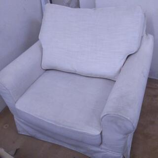 苫小牧から!白い布製 1人掛けソファー 一部難あり 中古品