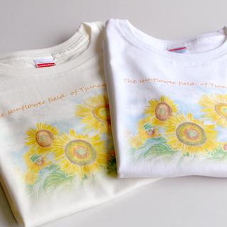 レディースティーシャツ ひまわり畑イラスト