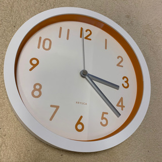 【美品】KEYUCA 掛け時計 オレンジ
