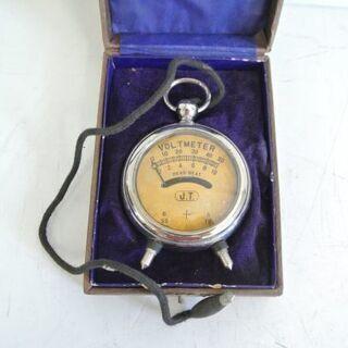 希少品 アンティーク 懐中時計型 携帯型電圧計 1920年…