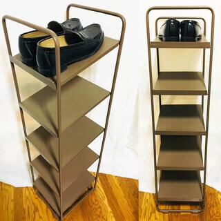 靴棚 靴置き 靴収納 スリム ブラウン