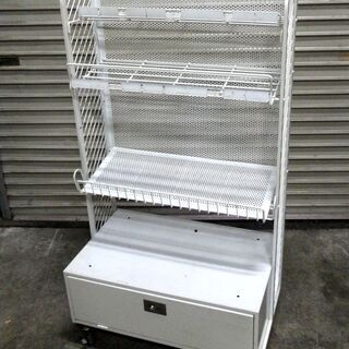 ロッテ 陳列棚 在庫保管棚付き 展示棚 キャスター付き 什器 本棚