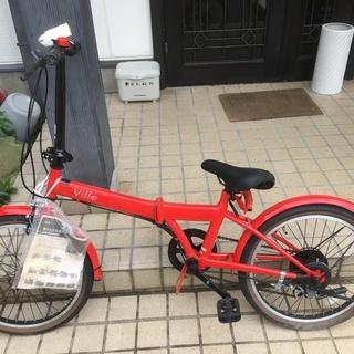折り畳み 自転車 VILLE レッド 6段ギア 鍵付き ギアも鍵も使用可能。折りたたみの画像
