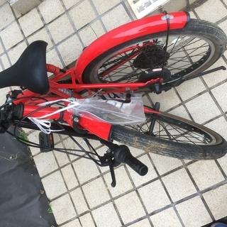 折り畳み 自転車 VILLE レッド 6段ギア 鍵付き ギアも鍵も使用可能。折りたたみ − 千葉県
