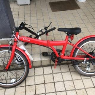 折り畳み 自転車 VILLE レッド 6段ギア 鍵付き ギアも鍵も使用可能。折りたたみ - 売ります・あげます