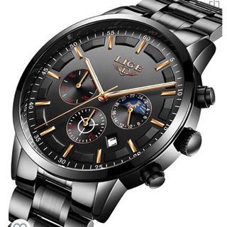 腕時計 メンズ ビジネス ブラック ステンレス 防水 クロノグラ...