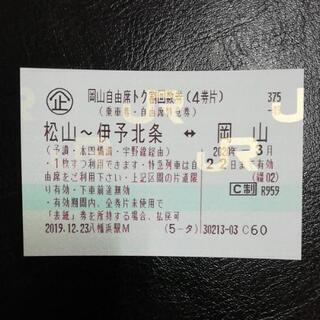 松山~岡山  JR四国  自由席特急券  3/22まで