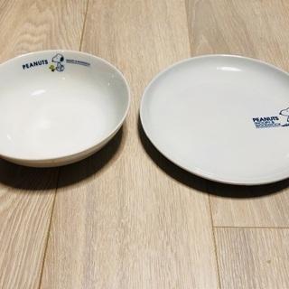 スヌーピー絵皿(スヌーピー皿)2枚セット(平皿とボウル皿)新品