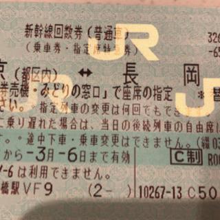 新幹線チケット 1枚 指定席 東京駅⇄長岡駅 2020年3月6日まで